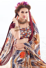 Load image into Gallery viewer, Bhelpuri Multi Colour Georgette Lace Border Saree with Dupioni Embroidered Blouse Piece