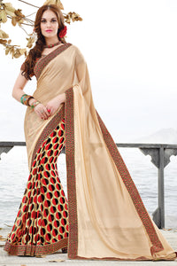 Bhelpuri Multi Colour Half n Half Saree with Bhagalpuri Silk Blouse Piece