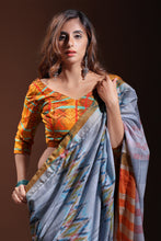 Load image into Gallery viewer, Bhelpuri Grey Pure Cotton Digitally Printed Saree