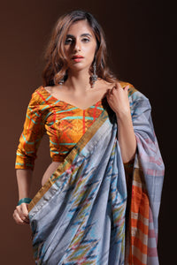 Bhelpuri Grey Pure Cotton Digitally Printed Saree