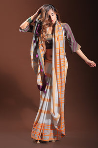 Bhelpuri Cream and Orange Pure Cotton Digitally Printed Saree