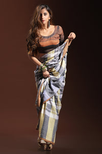 Bhelpuri Grey and Yellow Pure Cotton Digitally Printed Saree