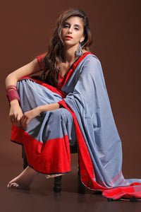Bhelpuri Grey and Red Pure Cotton Digitally Printed Saree