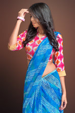 Load image into Gallery viewer, Bhelpuri Blue Bemberg Georgette Printed Saree