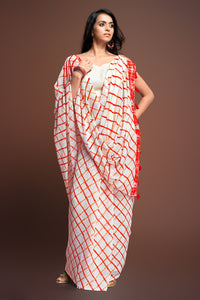Bhelpuri Cream Bemberg Georgette Printed Saree