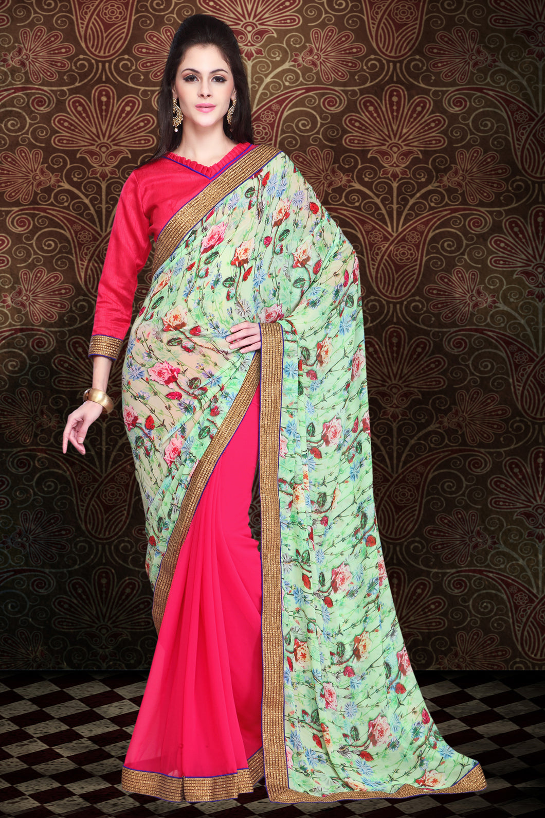 Bhelpuri Light Green and Pink Half n Half Digital Printed Saree with Jaipuri Silk Blouse Piece