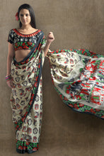 Load image into Gallery viewer, Bhelpuri Cream Digitally Printed Saree with Blouse Piece