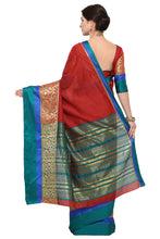 Load image into Gallery viewer, Bhelpuri Maroon Chanderi Cotton Woven Saree with Maroon Blouse Piece
