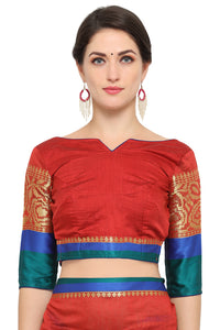 Bhelpuri Maroon Chanderi Cotton Woven Saree with Maroon Blouse Piece