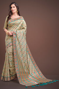 Bhelpuri Beige Kanjeevaram Silk Tassel Woven Saree with Tussar Silk Blouse Piece