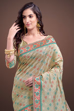 Load image into Gallery viewer, Bhelpuri Beige Kanjeevaram Silk Tassel Woven Saree with Tussar Silk Blouse Piece