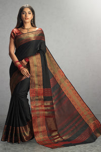 Bhelpuri Black and Maroon Chanderi Cotton Woven Saree with Blouse Piece