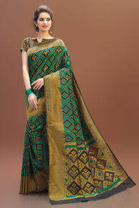 Bhelpuri Green and Gold Patola Saree with Brocade Blouse Piece