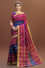 Load image into Gallery viewer, Bhelpuri Pink and Blue Tussar Silk Woven Saree with Pink and Blue Blouse Piece