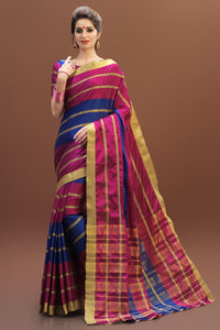 Bhelpuri Pink and Blue Tussar Silk Woven Saree with Pink and Blue Blouse Piece