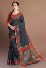 Load image into Gallery viewer, Bhelpuri Black Chanderi Cotton Woven Tassel Saree with Blouse Piece