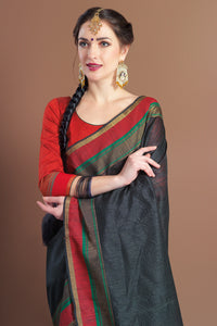 Bhelpuri Black Chanderi Cotton Woven Tassel Saree with Blouse Piece