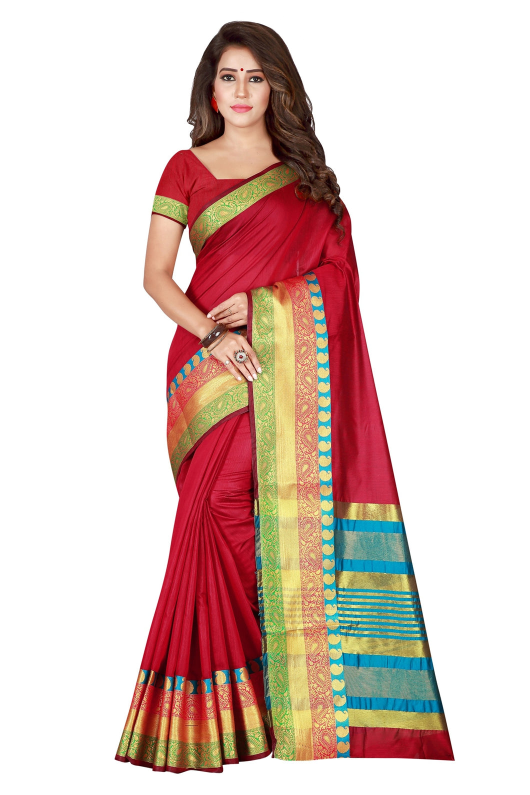 Bhelpuri Maroon Cotton Blend Woven Saree with Blouse Piece