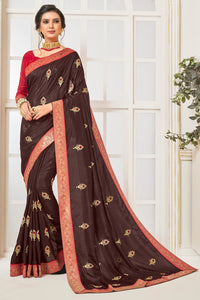 Bhelpuri Coffee Poly Silk Embroidered Saree with Blouse Piece