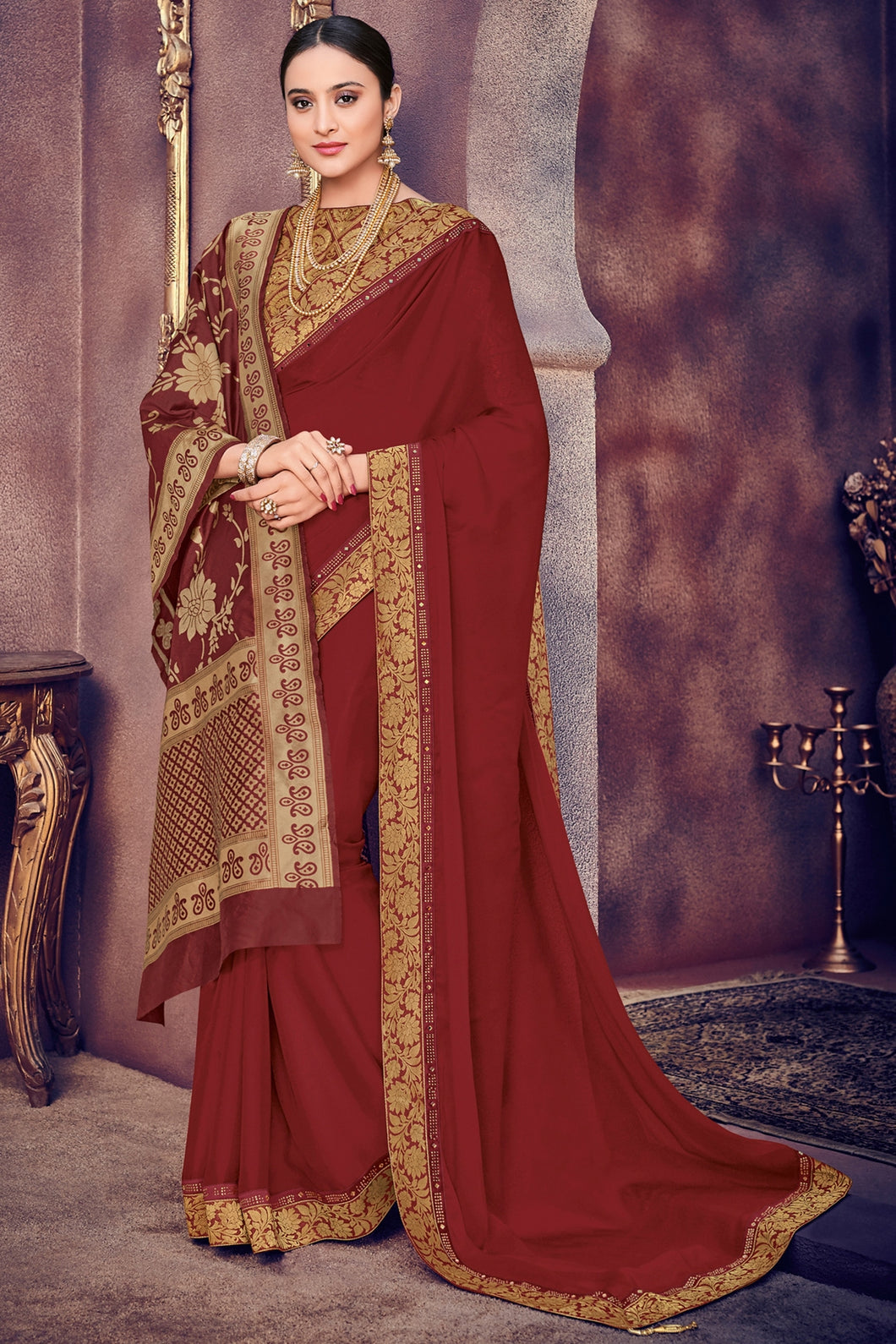 Bhelpuri Maroon Georgette Saree with Silk Jacquard Dupatta
