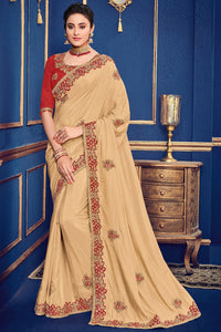 Bhelpuri Beige Two Tone Silk Saree