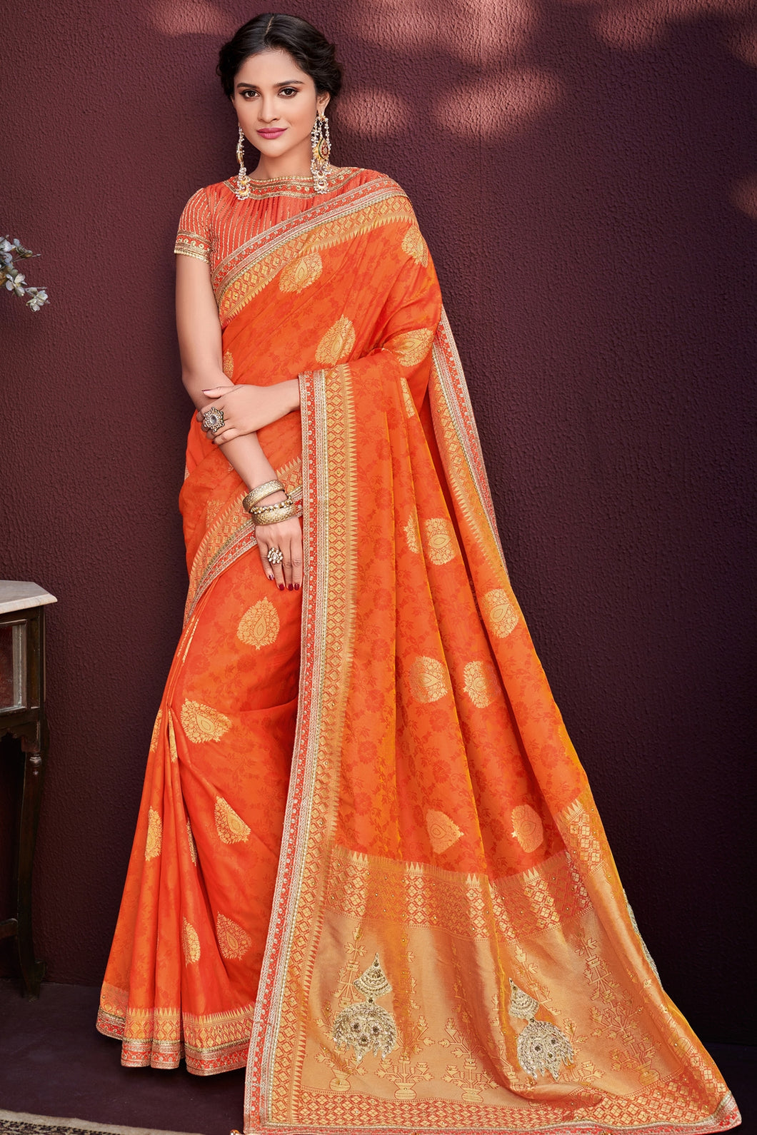 Bhelpuri Orange Banarasi Silk Jacquard Saree