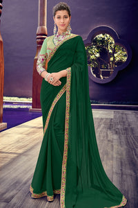 Bhelpuri Dark Green Chiffon Saree