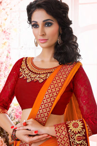 Bhelpuri Orange Satin Jacquard Saree