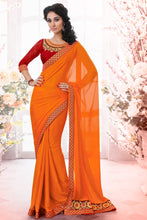 Load image into Gallery viewer, Bhelpuri Orange Satin Jacquard Saree