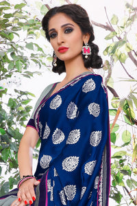 Bhelpuri Navy Blue & Grey Half And Half Satin Chiffon Saree