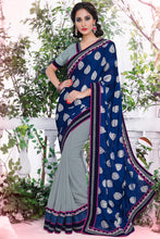 Load image into Gallery viewer, Bhelpuri Navy Blue & Grey Half And Half Satin Chiffon Saree