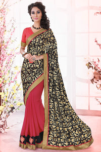Bhelpuri Black & Pink Half And Half Brasso Saree