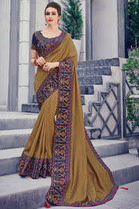 Bhelpuri Mustard Two Tone Silk Saree