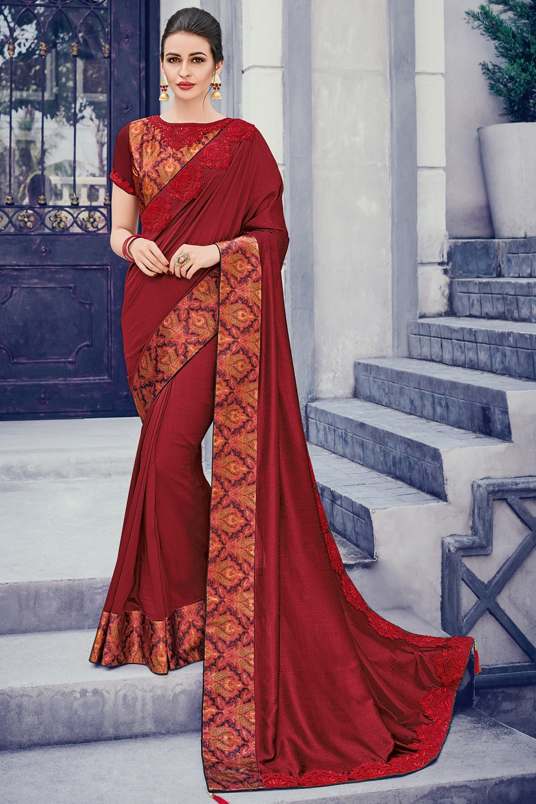 Bhelpuri Maroon Two Tone Silk Saree