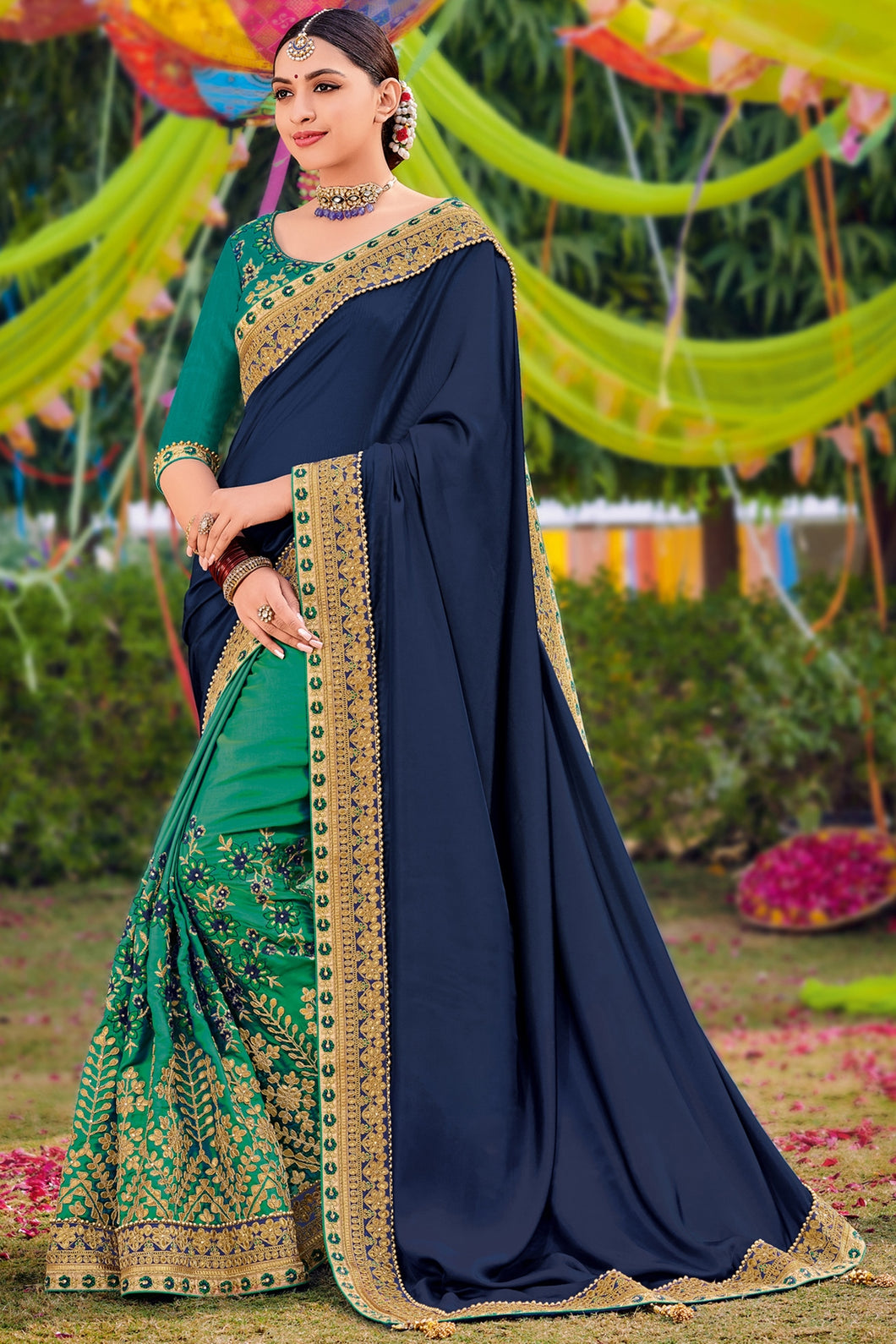 Bhelpuri Navy Blue & Teal Half And Half Two Tone Satin Saree