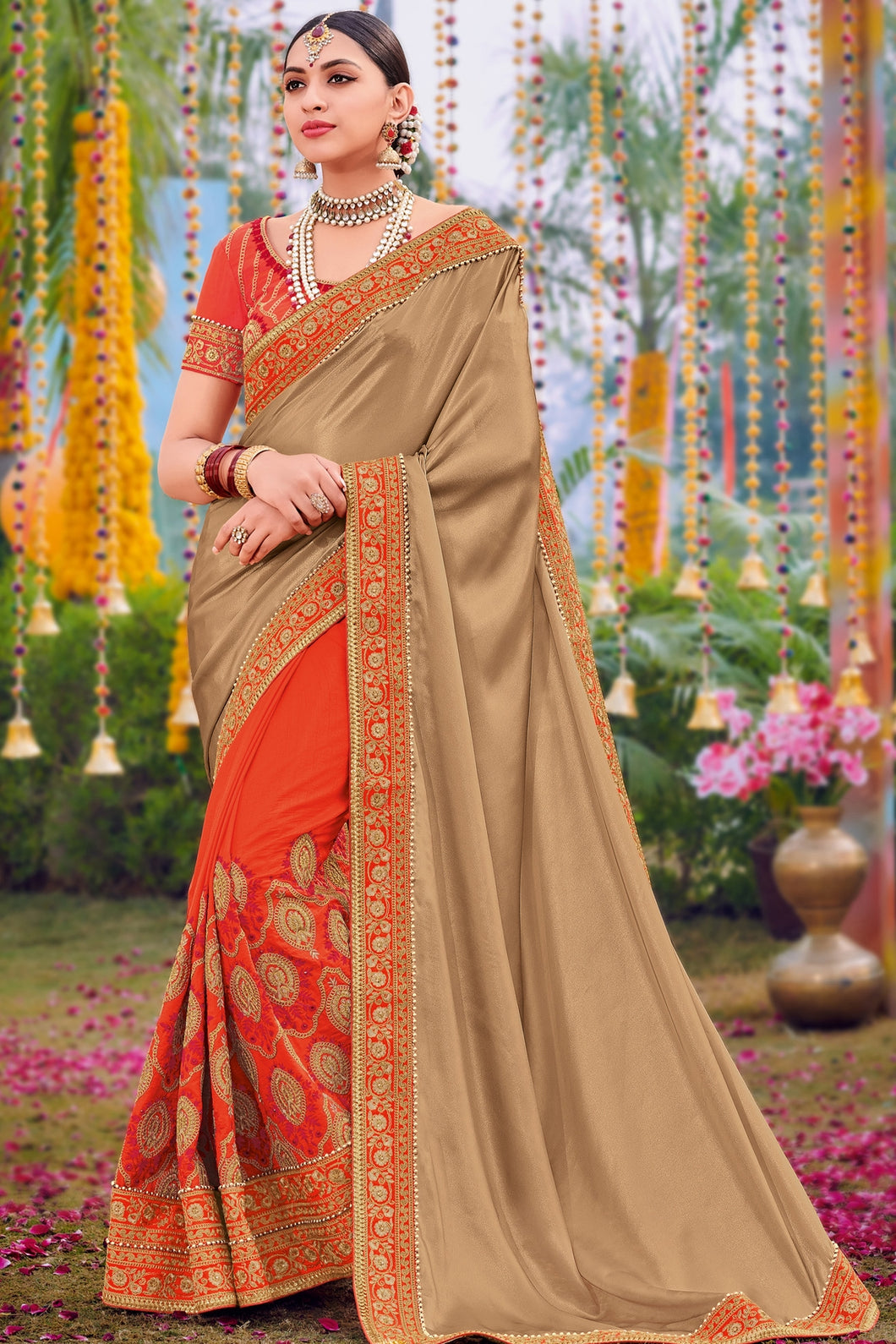Bhelpuri Beige & Orange Half And Half Two Tone Silk Satin Georgette Saree