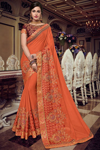 Bhelpuri Orange Georgette Saree