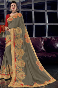 Bhelpuri Grey Silk Saree