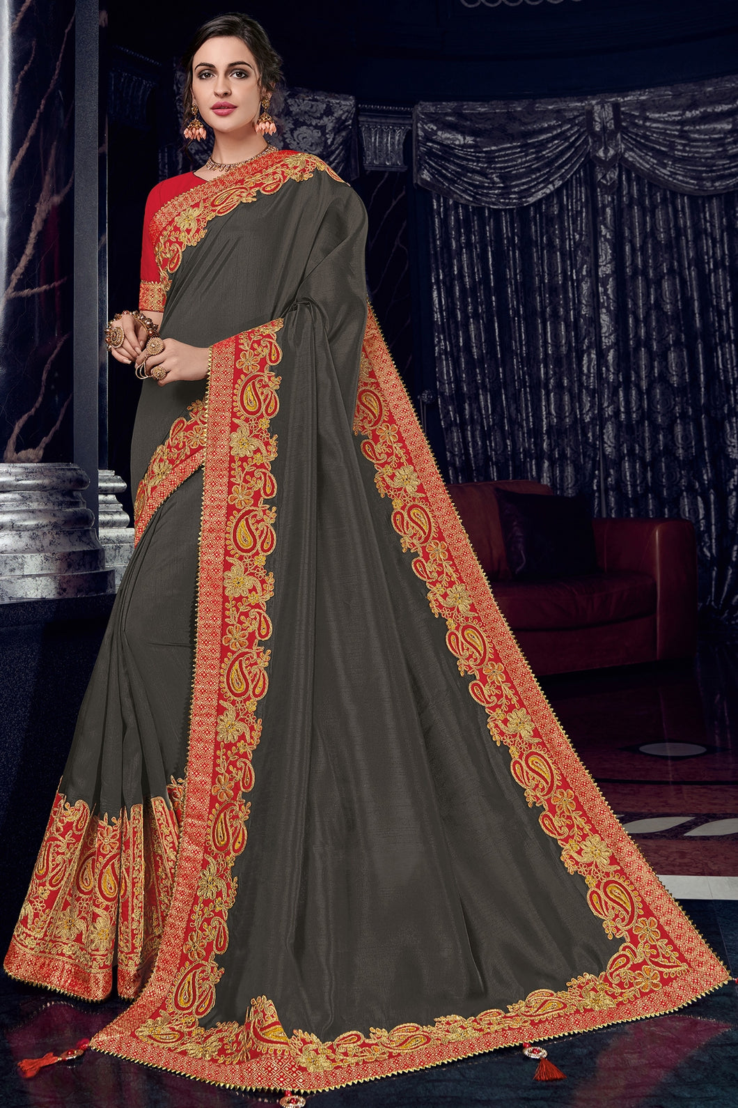 Bhelpuri Dark Grey Silk Saree