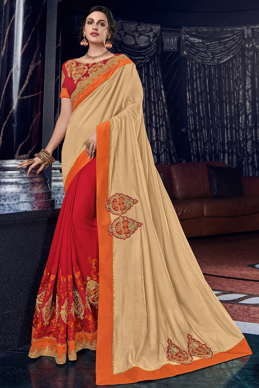 Bhelpuri Cream & Red Silk Saree