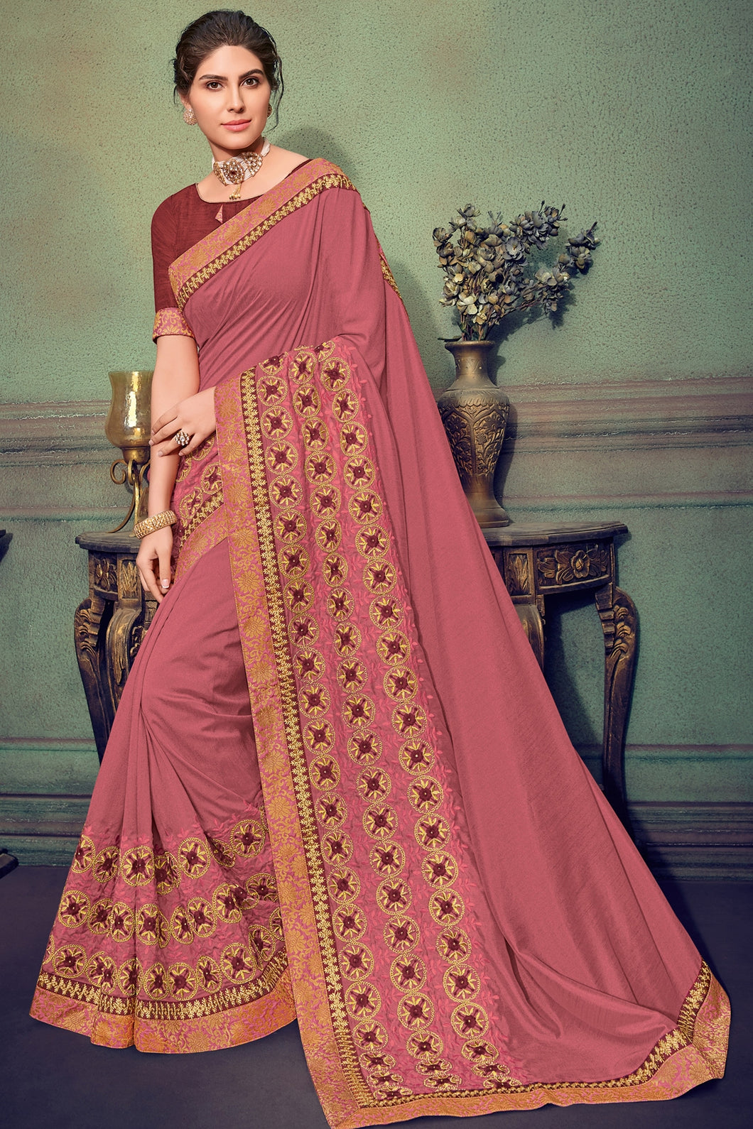 Bhelpuri Peach Colour Silk Saree