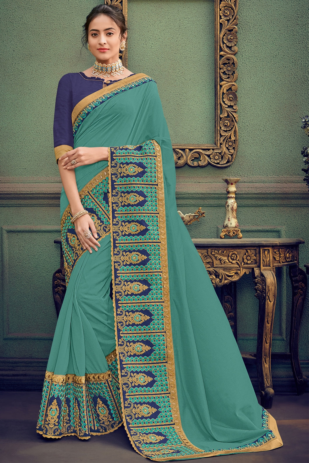 Bhelpuri Light Teal Colour Silk Saree