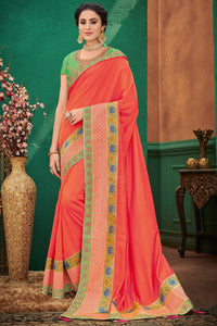 Bhelpuri Orange Two Tone Silk Saree