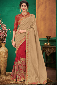 Bhelpuri Beige & Red Silk Half And Half Saree