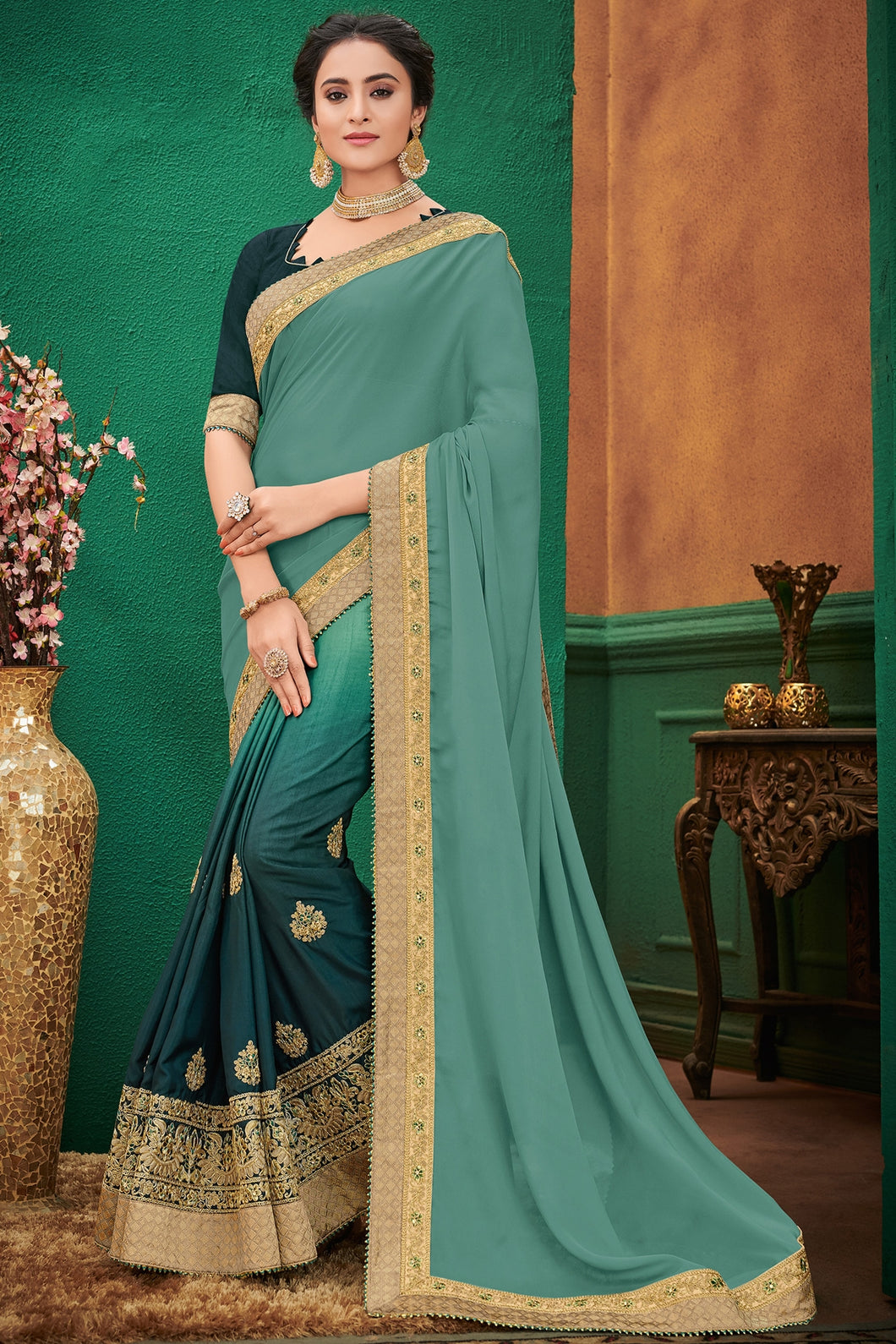 Bhelpuri Light Green Silk Saree