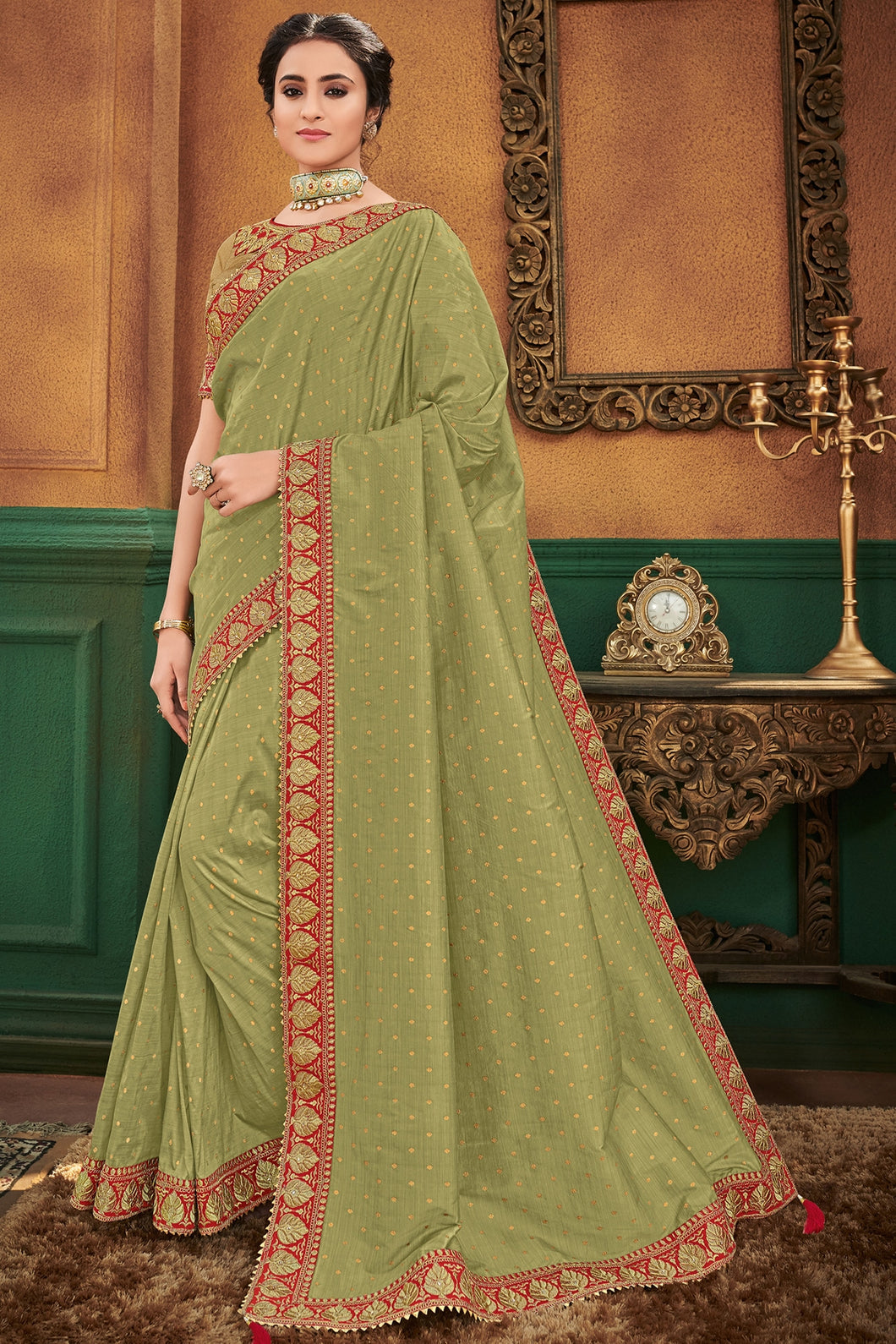 Bhelpuri Olive Green Silk Saree