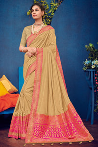 Bhelpuri Beige & Pink Two Tone Silk Saree