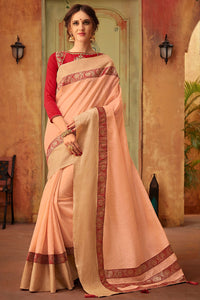Bhelpuri Peach Cotton Silk Jacquard Border Designer Saree