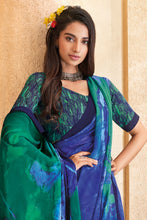Load image into Gallery viewer, Bhelpuri Blue Georgette Printed Saree with Blouse Piece