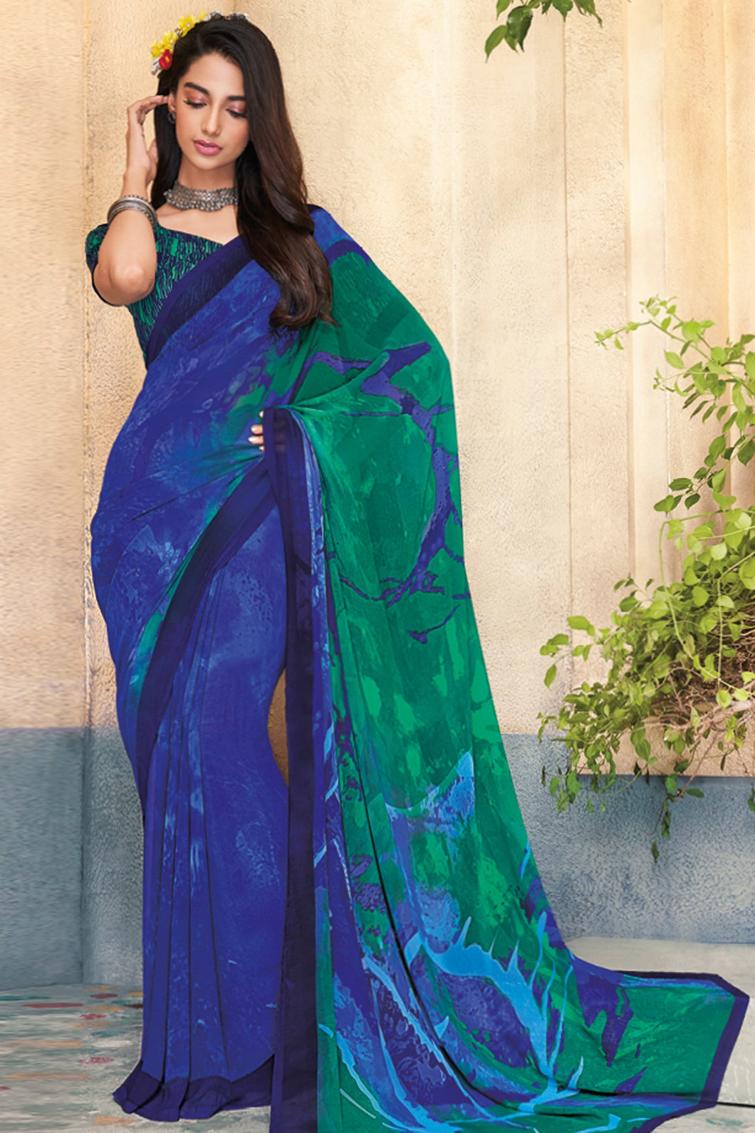 Bhelpuri Blue Georgette Printed Saree with Blouse Piece